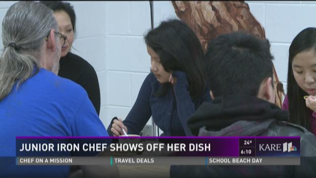 Junior Iron Chef shows off her dish