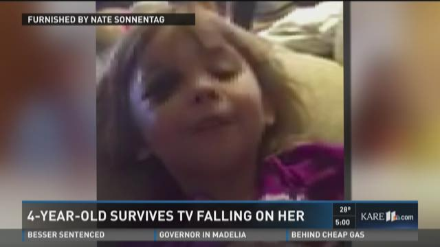 Child survives television falling on her