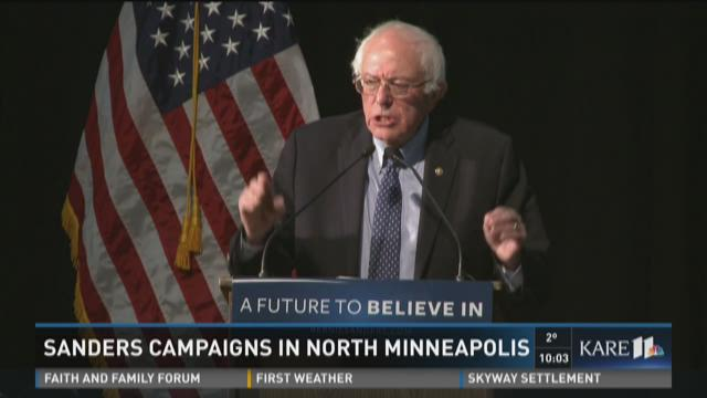 Bernie Sanders campaigns in north Minneapolis