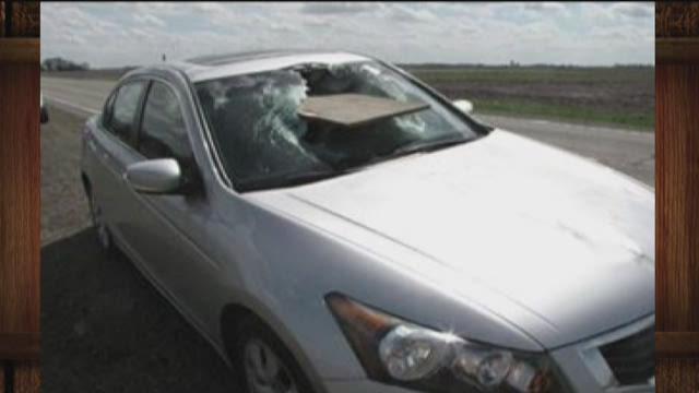 Plywood crashes through car window