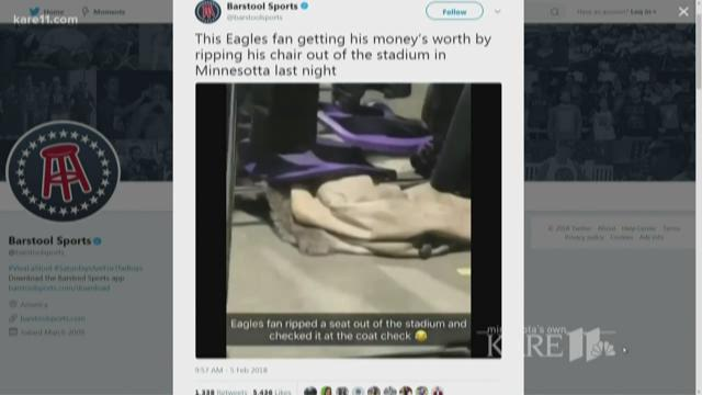 Video appears to show Eagles fan taking seat from U.S. Bank Stadium