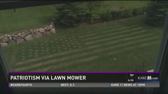 Plymouth dad creates American flag lawn