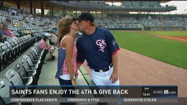 Saints fans enjoy the 4th and give back