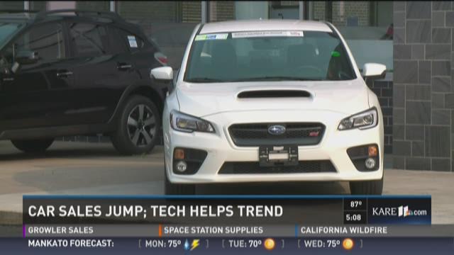Car sales jump as tech helps trend