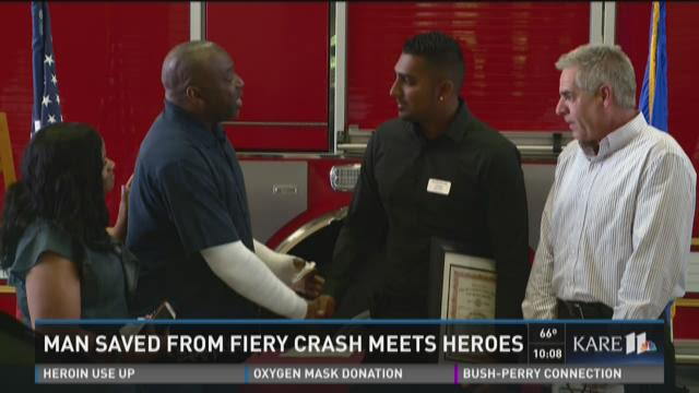 Man saved from fiery crash meets heroes