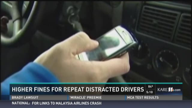Higher fines for repeat distracted drivers