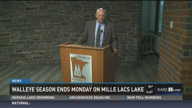Walleye fishing on Mille Lacs Lake ends Monday