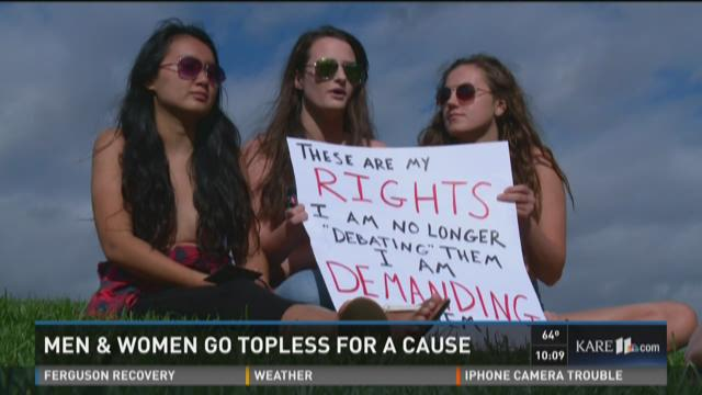 Men and women go topless for a cause