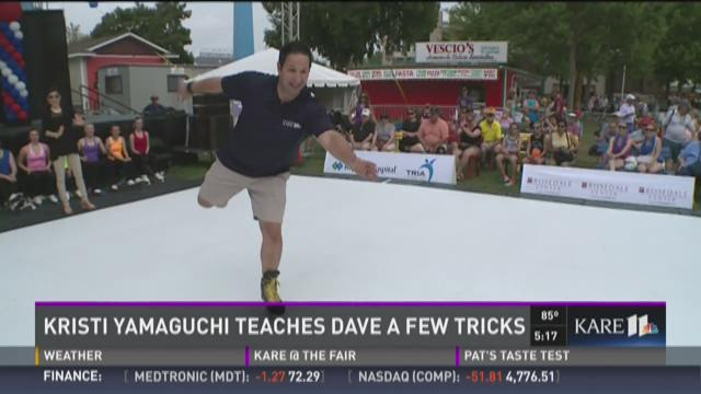Kristi Yamaguchi teaches Dave a few tricks