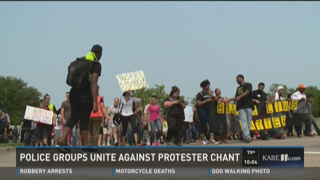 Police groups unite against protester chant