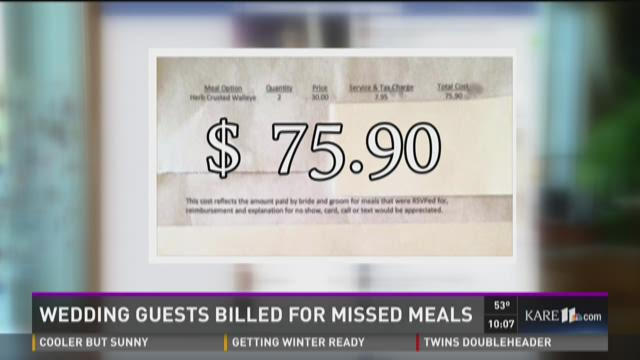 Wedding guests receive bill for missed meals Cancelling a wedding at the last minute