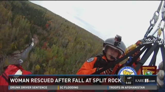 Woman rescued after fall at Split Rock